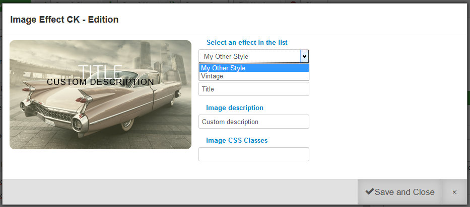 image effect override styles list only
