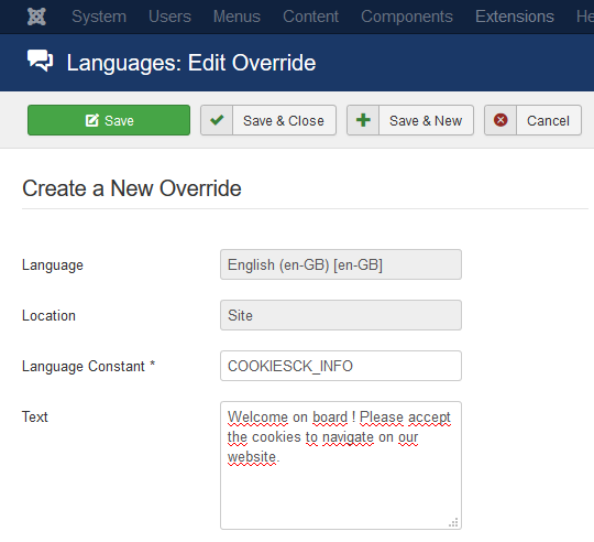 language override example