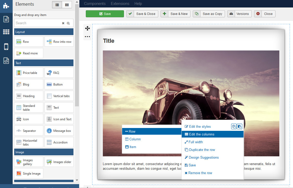 page builder joomla context menu