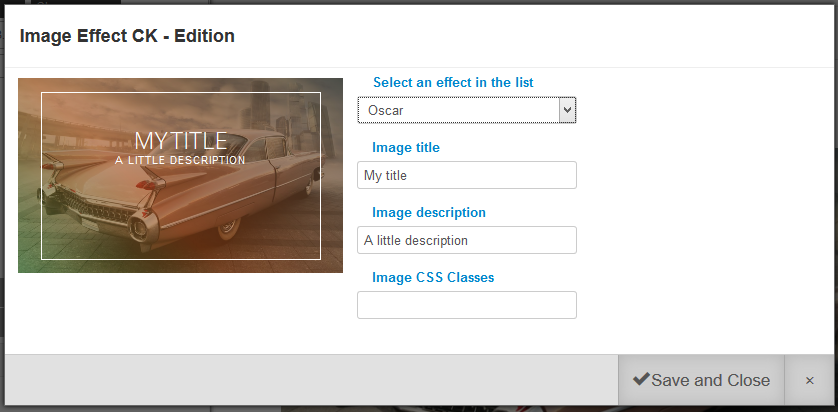 Image effect with Page Builder joomla